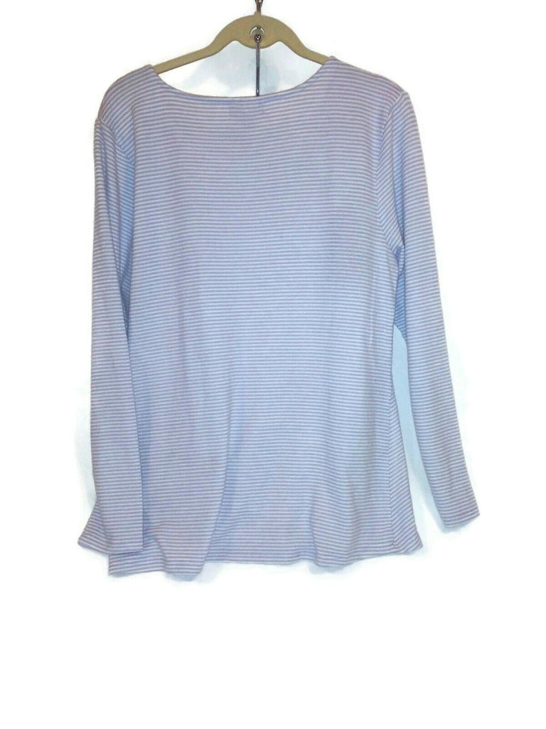 Max & Mia Women Twist Hem 3/4 Sleeve Scoop Neck Top Large Lavender White Stripe