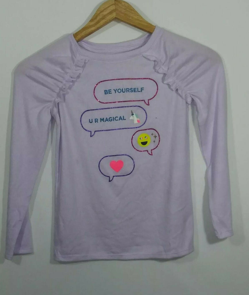 Cat & Jack Girls Graphics 'Be Yourself  U Your R Magical  Ruffle Long Sleeve Top
