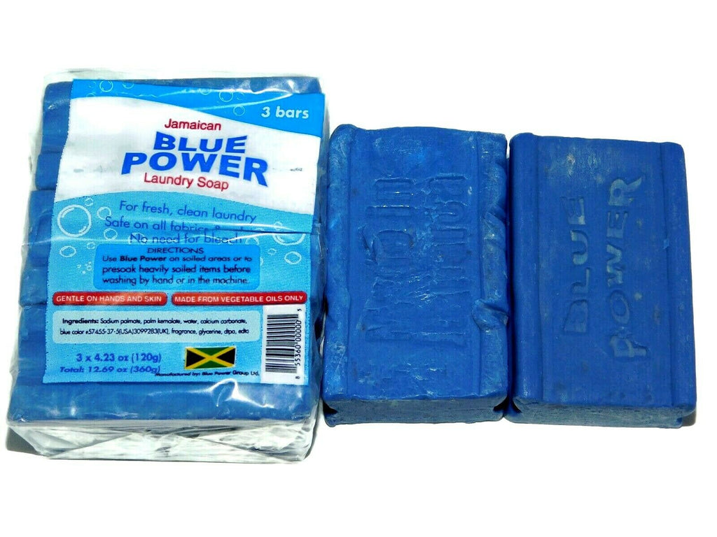 JAMAICAN Blue Cake Soap (3 Bars) 120G Each Bar / Blue Power Washing Laundry Soap