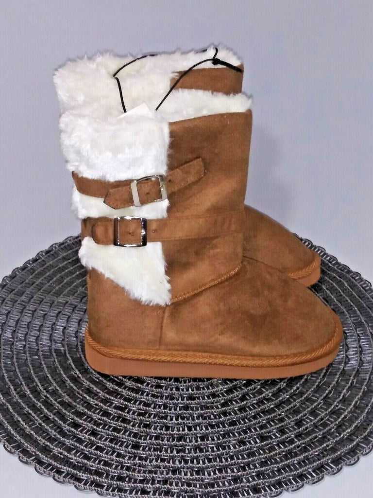 Shoes Of Soul Girls' Fleece Lined Double Buckle Boots Size 12 Tan