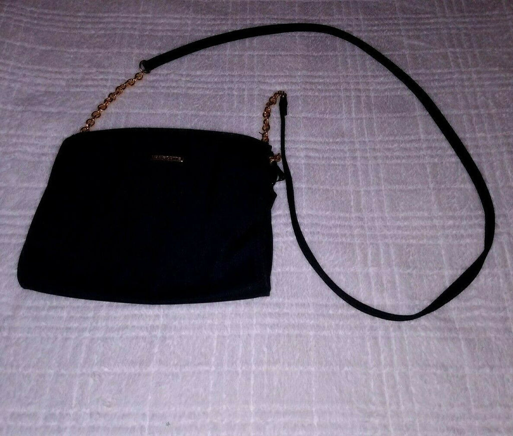 LIZ CLAIBORNE BLACK Crossbody/Shoulder Bag Purse W/ Gold Metal on the Strap