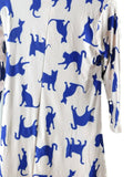 Yelete Women's Novelty Kitty Print 3/4 Sleeve A-Line Dress Beige Small