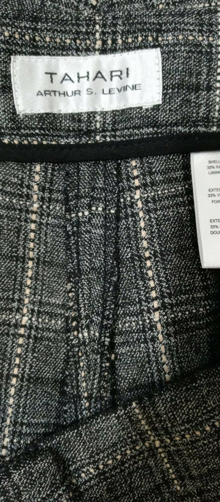 Tahari Women's ASL Dobby Checkered Plaid Skinny Pants Black Ivory Taupe Sz 12 MS
