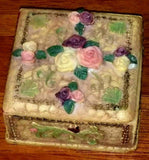 Vintage Victorian Rose Floral Small Jewelry Box Trinket Box Carved Stone