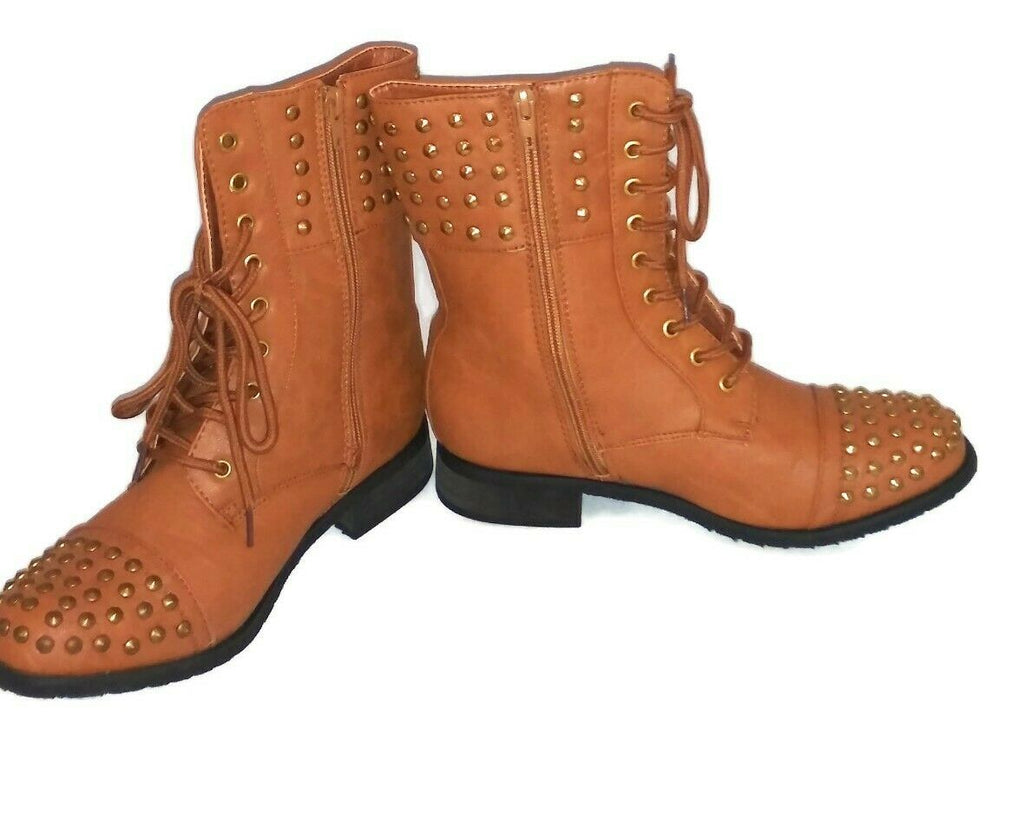 CA Collection by Carrini Women's Lace-Up Ankle High Studded Flat Boots 6.5 Brown