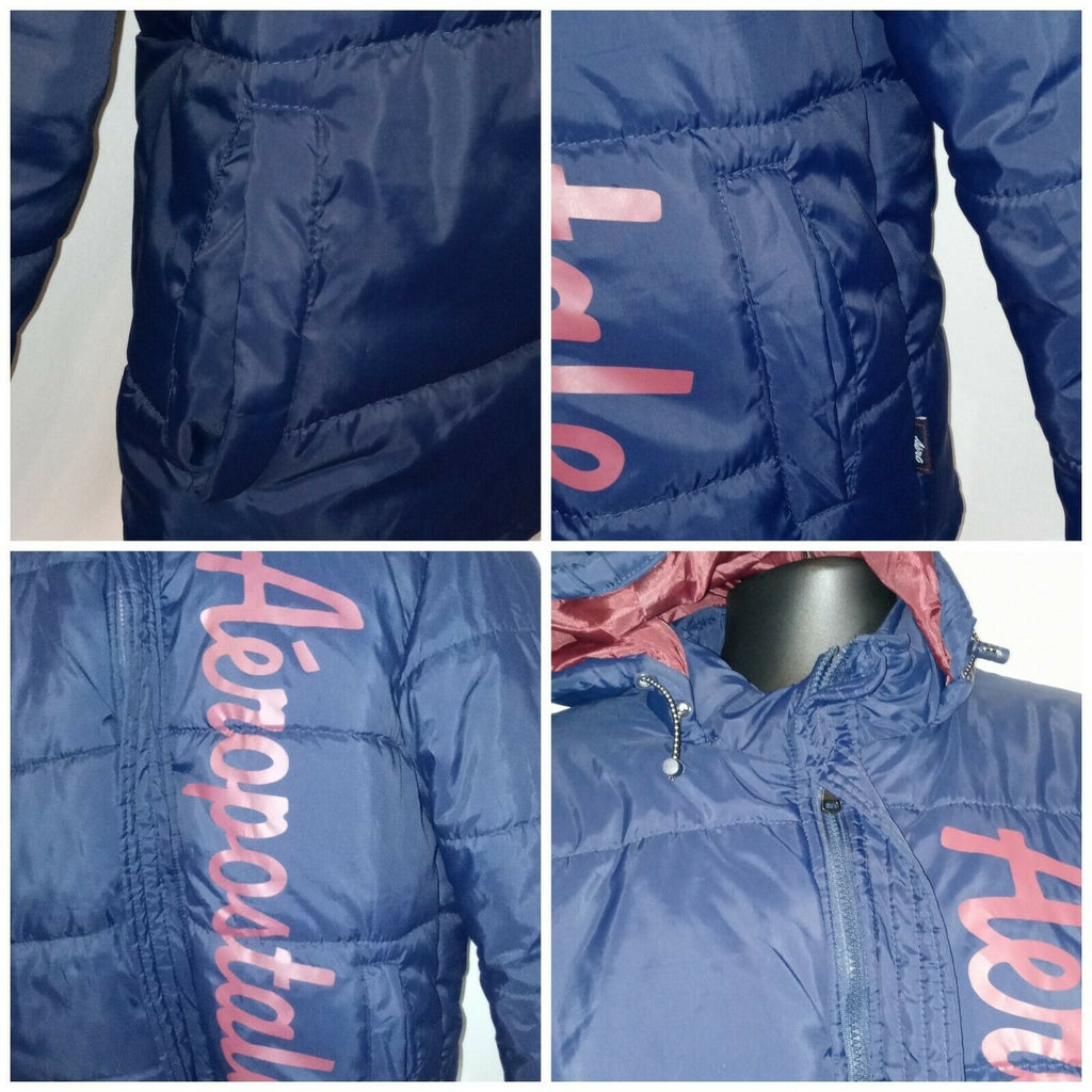 Lettered Aeropostale Graphic Print Hooded Puffer Jacket XL