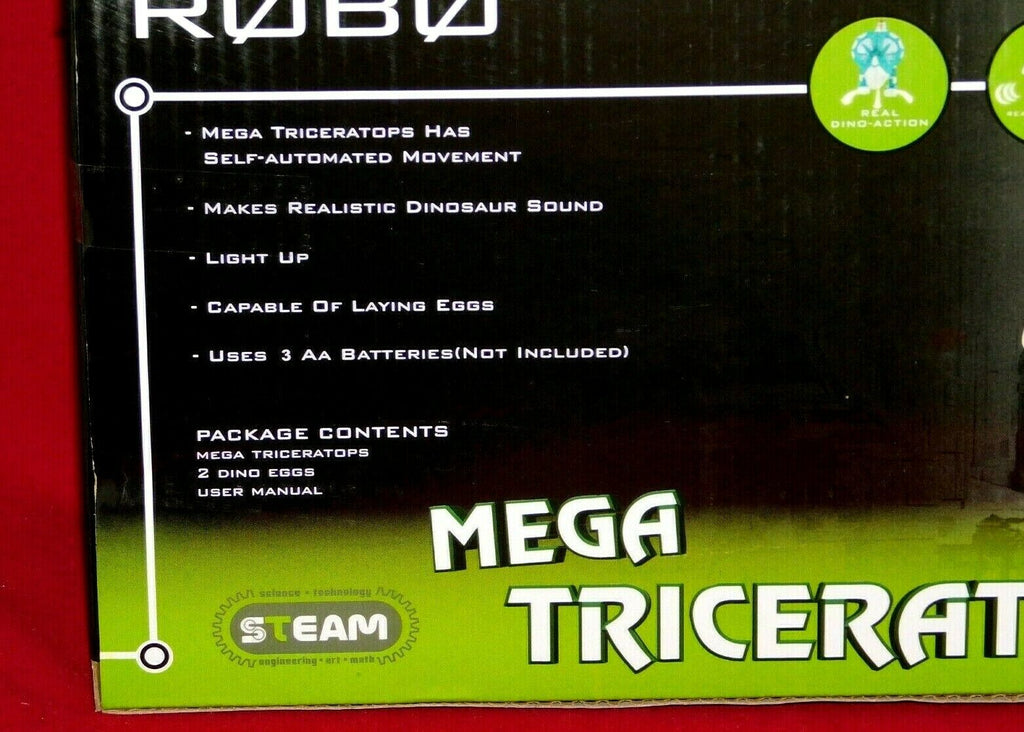 VIVITAR ROBO STEAM MEGA TRICERATOPS SELF AUTOMATED MOVEMENTS AGES 8+