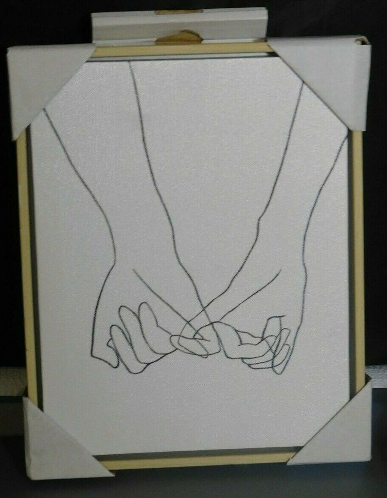 "Holding Hands Framed Wall Canvas Black/White Opalhouse 10"" x 8 "" x 1.25"""