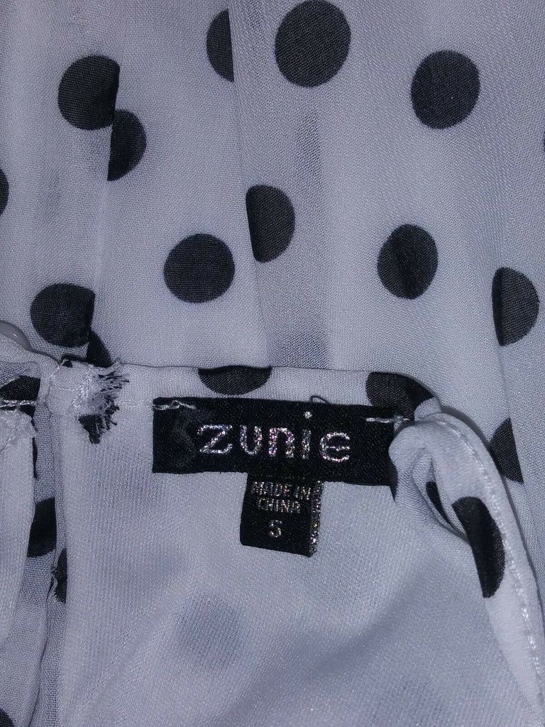 Zunie Girls Polka Dot Dress with Front Neck Bow Size 5 White & Black