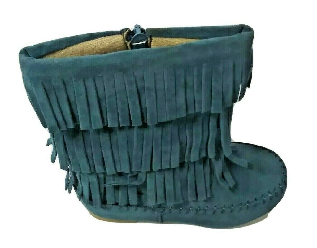 Shoes of Soul Girls Mid Calf Faux Suede Moccasin Flat 3 Layer Fringe US-7 Green