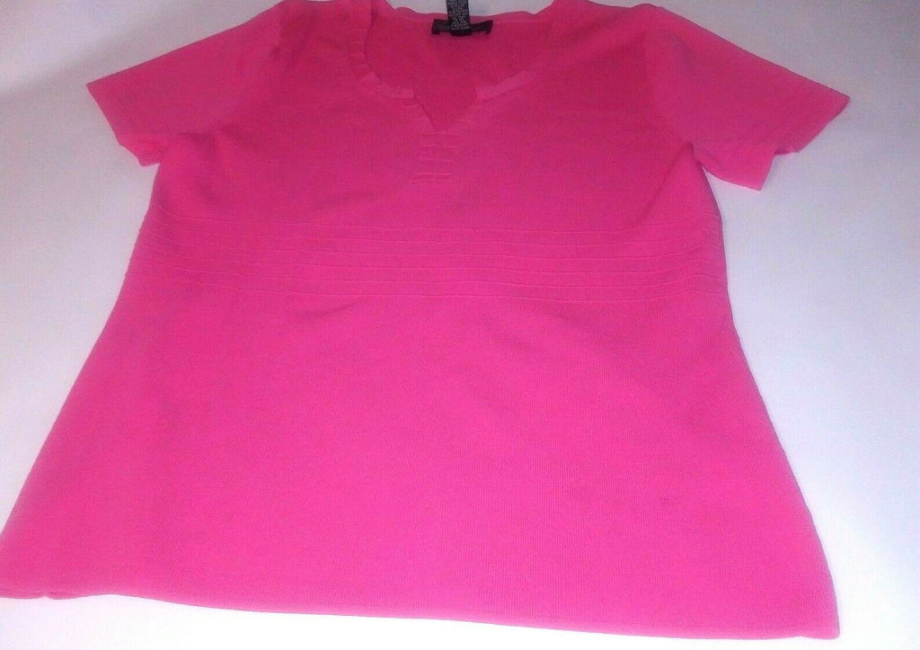 Cable and Guage Women Large Pink Short Sleeve Top Shirt Blouse Casual Business