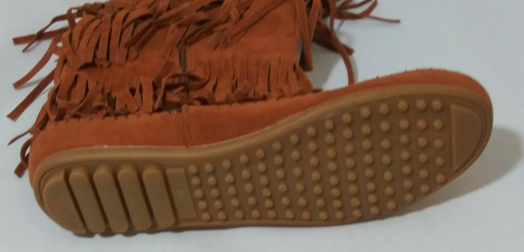 Shoes of Soul Women's Mid Calf Faux Suede Moccasin Flat 3 Layer Fringe 10 Brown