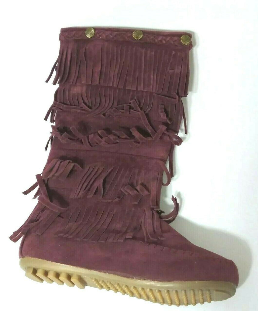 Shoes of Soul Girls Mid Calf Faux Suede Moccasin Boots 5 Layer Fringe 2 Burgundy