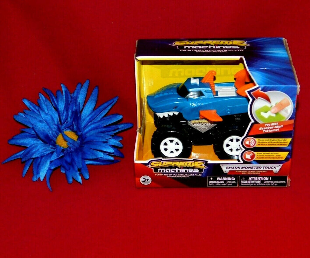 Supreme Machines 4x4 Shark Monster Truck Blue Friction Powered Car 2019