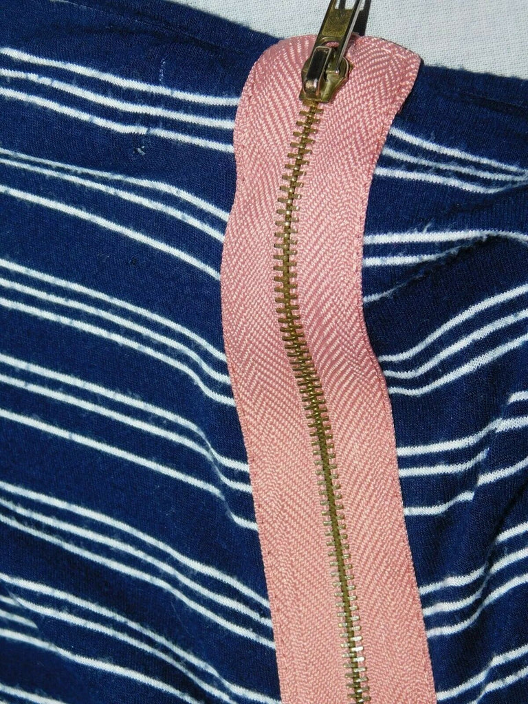 Hippie Rose Women's Stripe Faux Zipped Back Blouse XS
