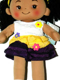 Linzy AISSA Plush Fabric Rag Doll In Yellow White Purple Frill Flower Dress 16""