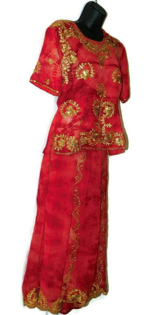 Women's Indian Clothing Set Blouse With Skirt Red & Gold Designs #38 Elastic Wst