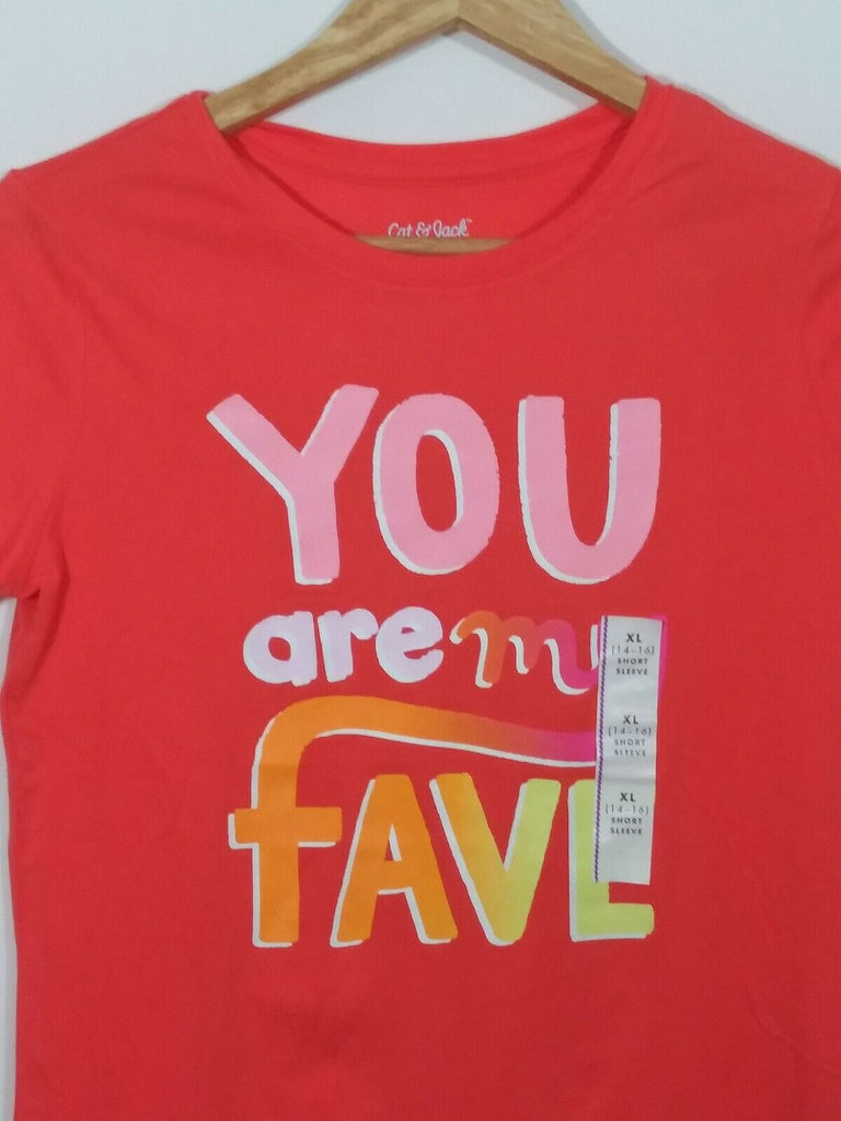 Cat & Jack Girls' Short Sleeve 'You Are My Fave' T-Shirt Size XL 14-16 Orange