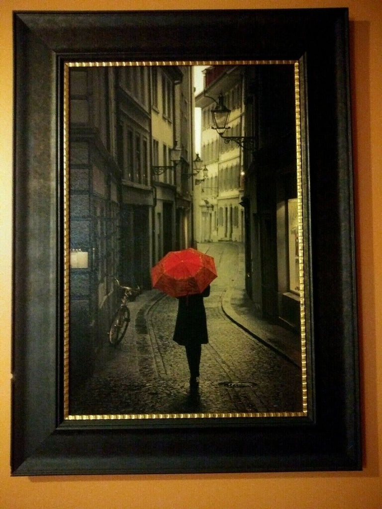 "Red Rain Framed Art Print With Gold Lip 33.5"" Length x 45.5"" Height x 5"" Width"