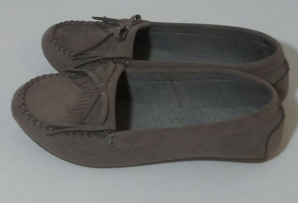 Shoes Of Soul Women's Fringe Slip-on Loafers Suede Moccasin Flat Shoes US-6 Gray