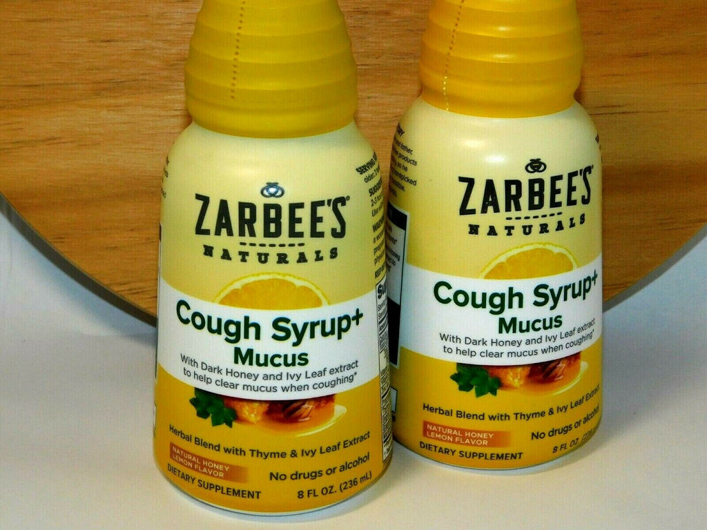 2x ZARBEE'S NATURALS Cough Syrup + Mucus Reducer Dark Honey & Lemon 8 Oz 10/21
