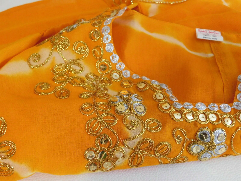 Women's Indian Clothing Top Blouse Orange/Gold