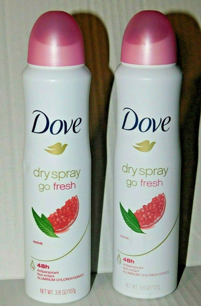 Antiperspirant Lot of 2 Dove Dry Spray Go Fresh Revive 48 Hr 3.8 Oz Each