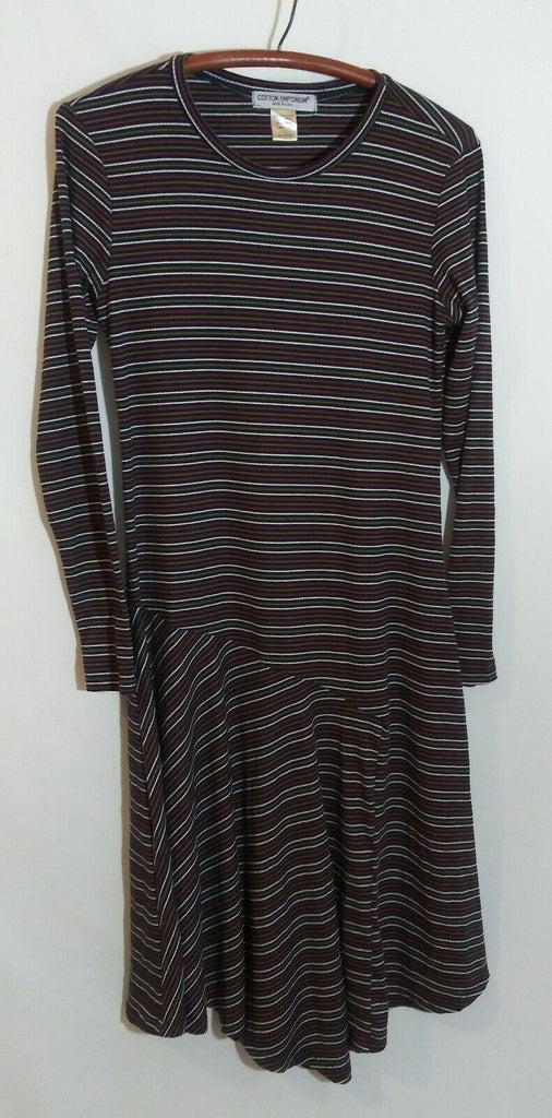 Cotton Emporium Long Sleeve Stripe Sweater Dress Large Multi-colored