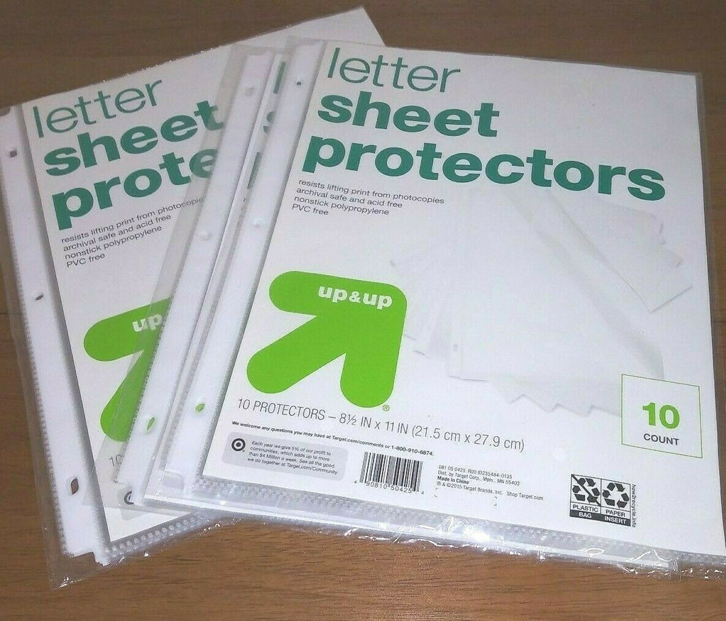 Sheet Protectors Letter Clear Color - Up&Up 8.5x11 in (Quantity 10)
