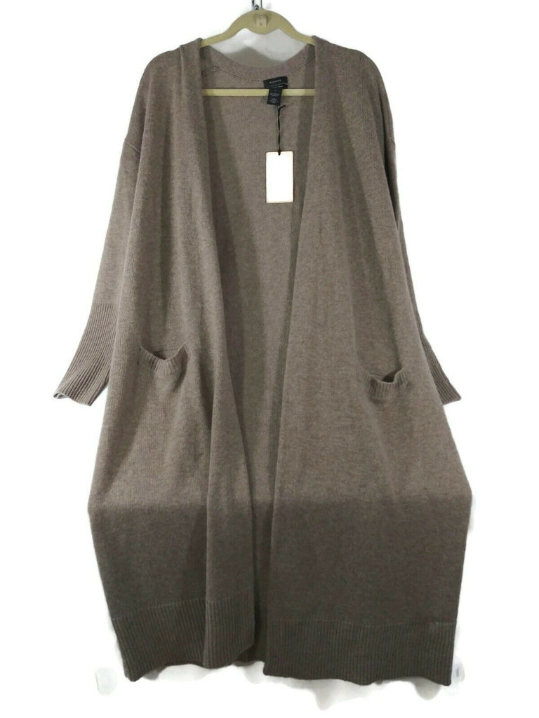 Halogen Women's Wool & Cashmere Long Cardigan XL Tan Cobblestone HTR