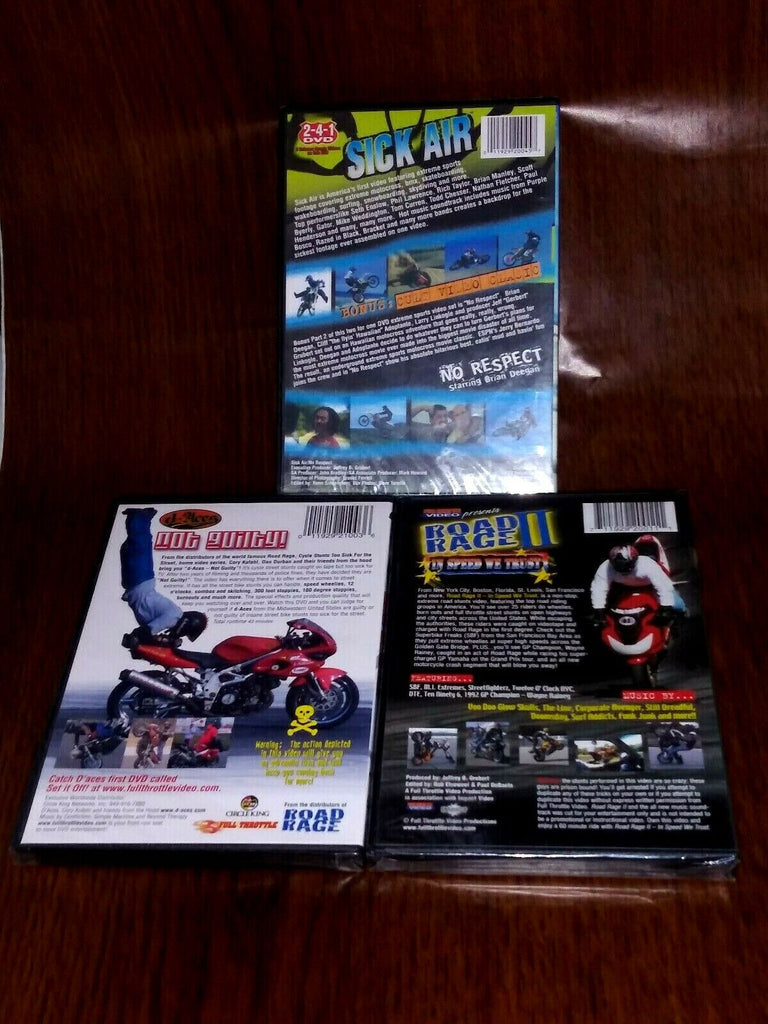 Lot of 3 Motorcycle Stunts Motorsports DVD Full Throttle Videos