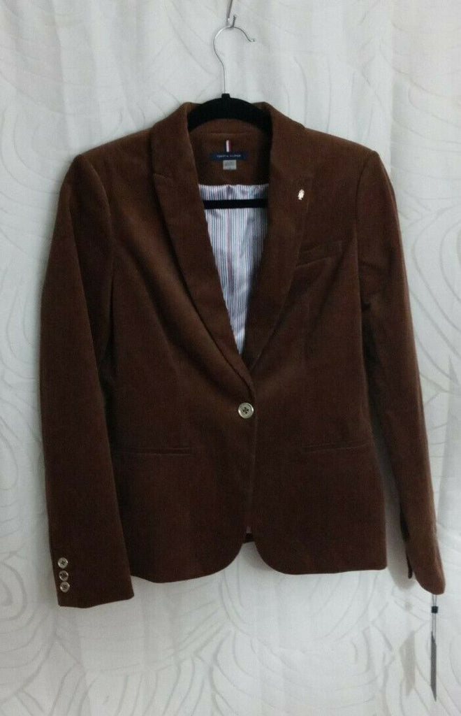Tommy Hilfiger Women's Single-Button Corduroy Blazer Nut Size 4 MSRP $139
