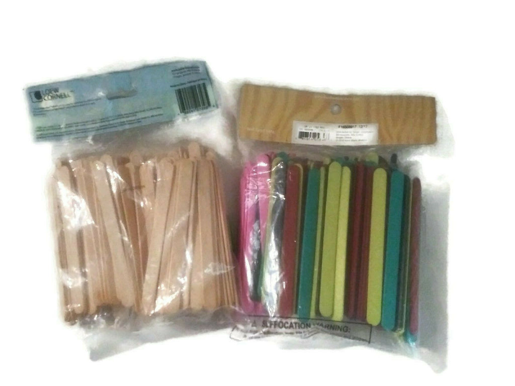 Lot of 2 Assorted Craft Sticks Total 300 Pieces