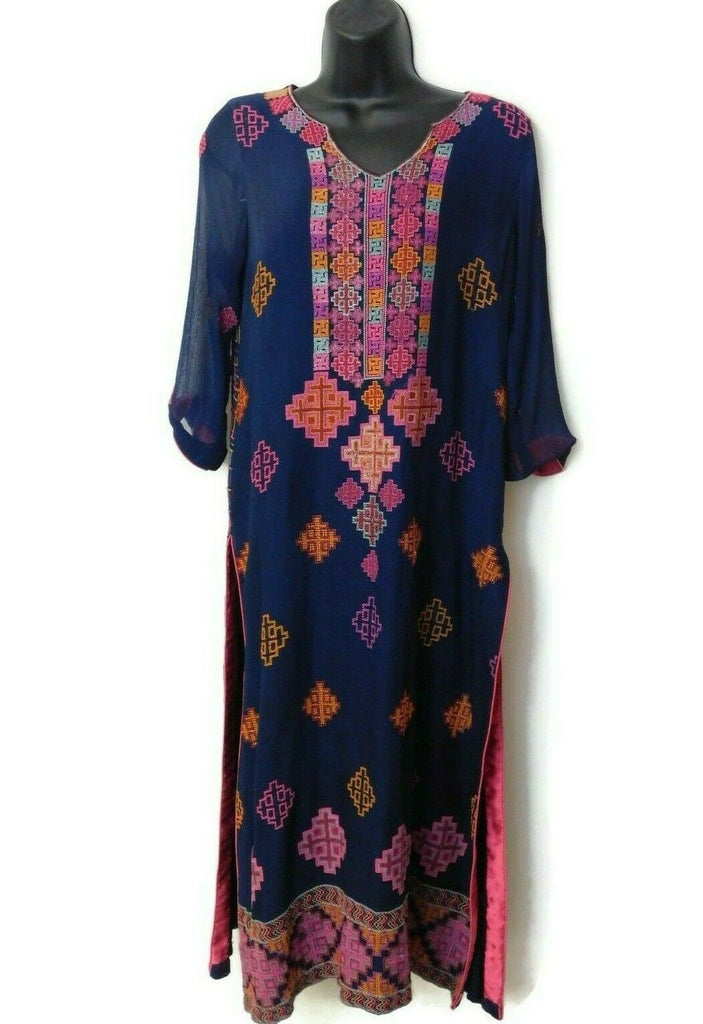 Women's Indian Clothing Dress Blue With Patterns 3/4 Sleeves