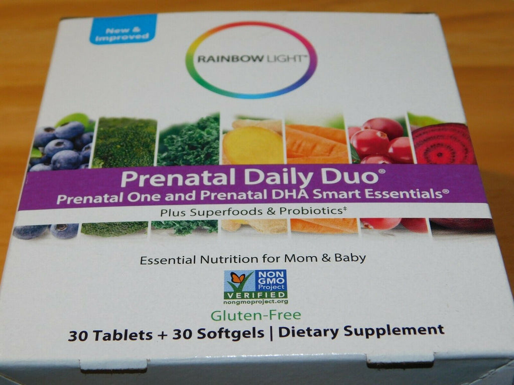 Rainbow Light Prenatal Daily Duo Plus Superfoods & Probiotics 60 Count 11/21+