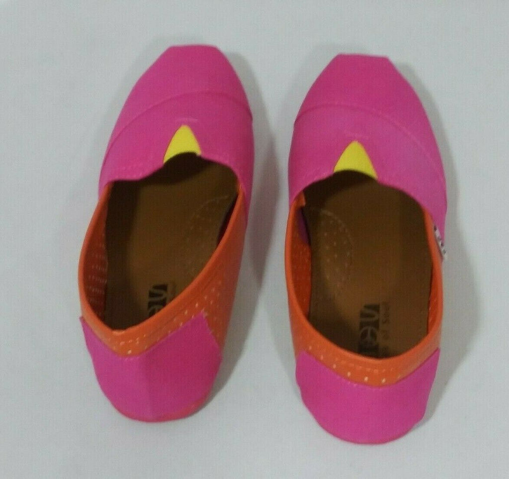 Shoes of Soul Women's Canvas Slip-on Color Block Shoes Size 7 Pink/Orange