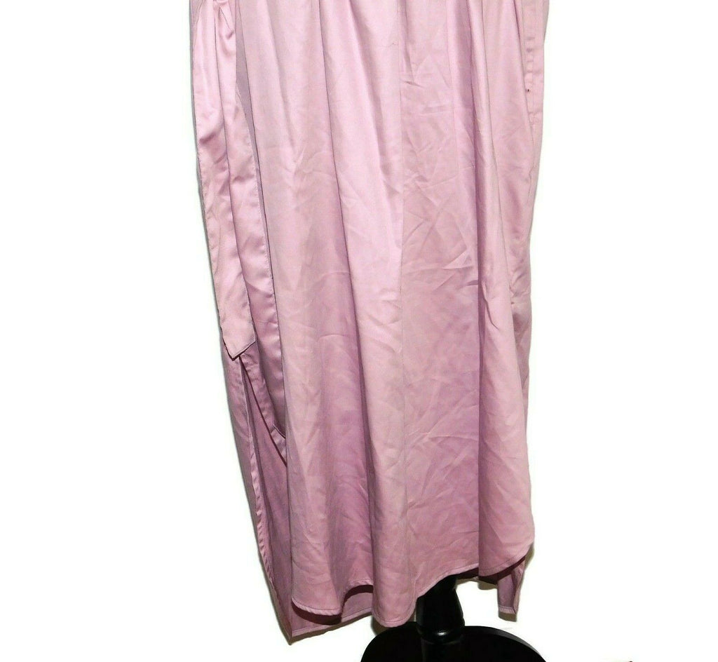 Prologue Women's Belted Tie Front 3/4 Sleeve V-Neck MIDI Dress Size Medium Pink