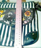 Cute Crossbody Bag + Black White Stripes With Floral and Butterly Flap