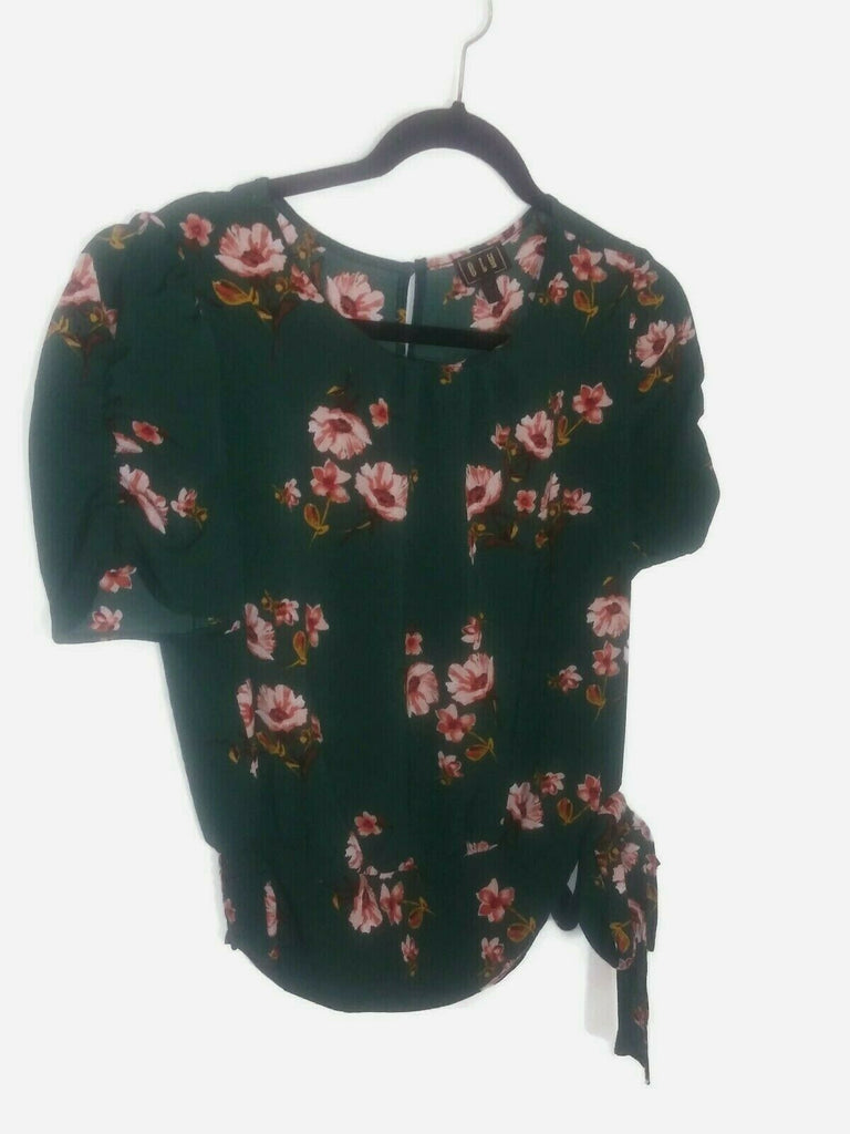 Olm Women's Floral Side Tie Ruched Sleeve Top Green Medium Career