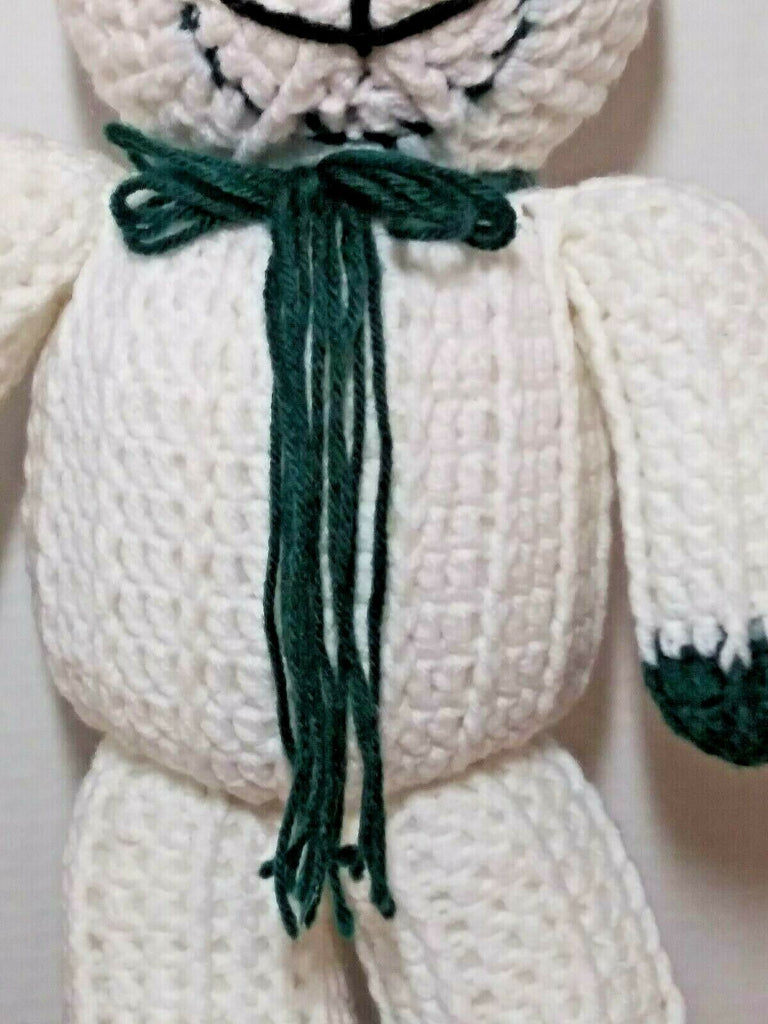 Crochet 16 Inches Green & White Smiling Teddy Bear With Green Neck Bow Handmade