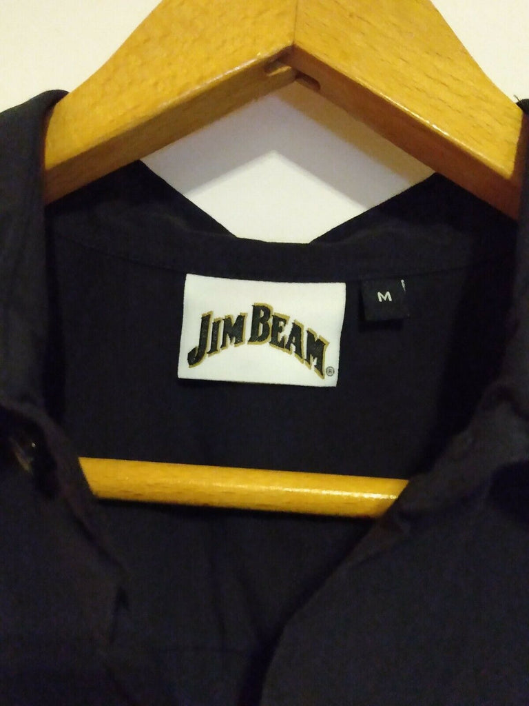 Official Jim Beam Whiskey Stripe Embroidered Button Front Shirt Men Medium