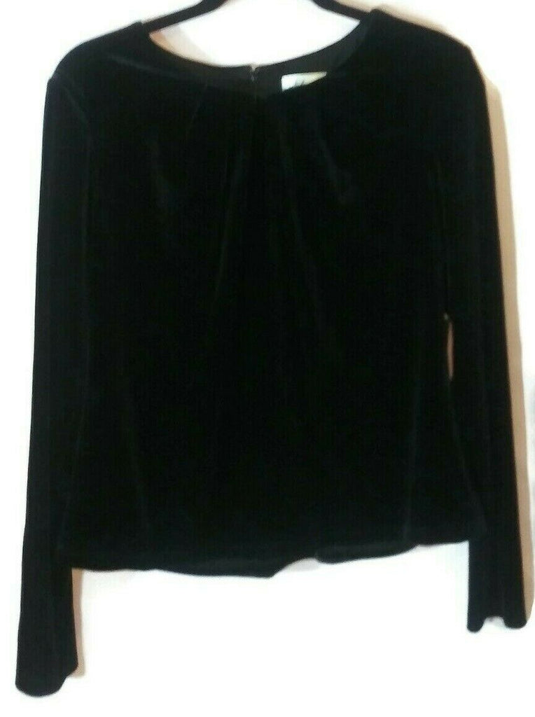 Eliza J Women's Stretch Velvet Pleated Neck Long Sleeve Top Black Large  X-Large