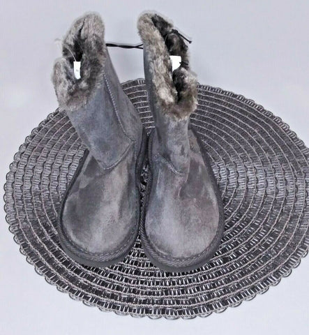 Shoes Of Soul Girls' Fleece Lined Two Button Boots Size 11 Gray - STEPSHEY