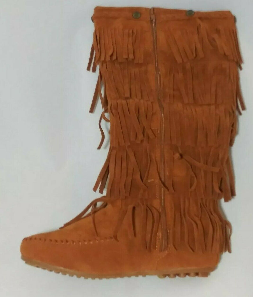 Shoes of Soul Women's Mid Calf Faux Suede Moccasin Boots 5 Layer Fringe 7 Brown