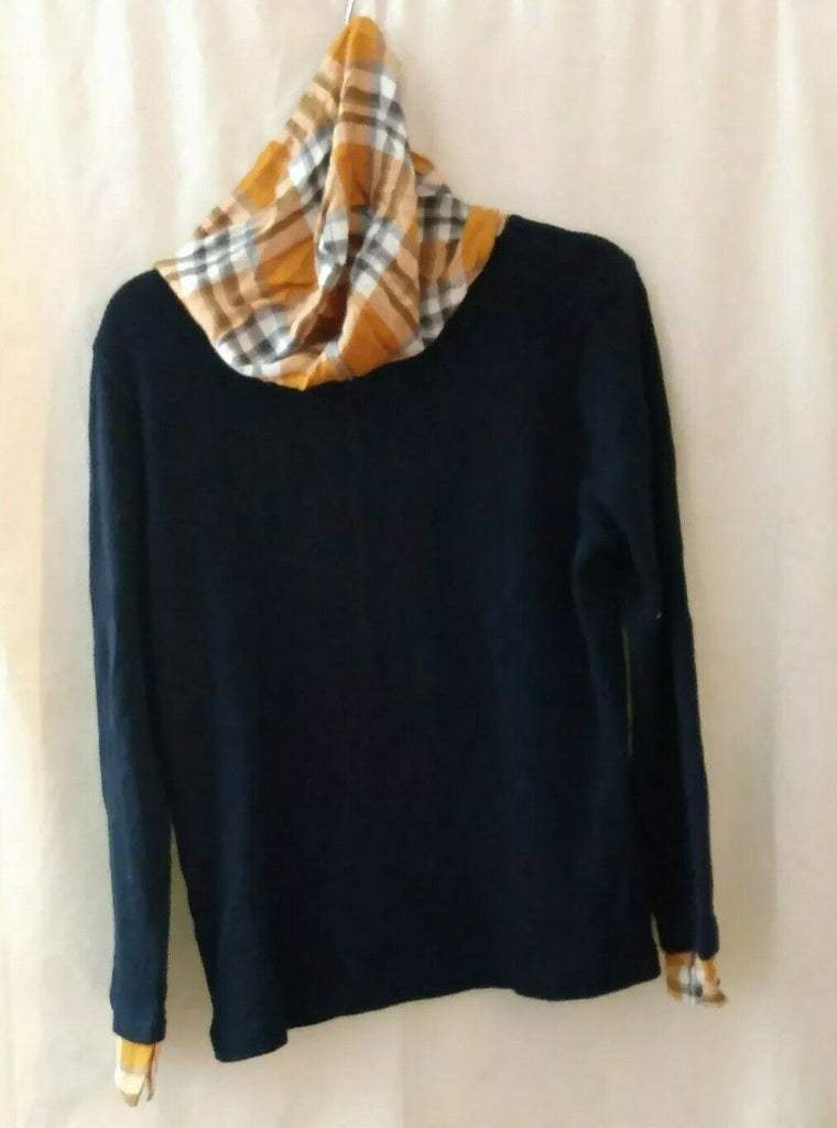 Tommy Hilfiger Womens Navy Tie Plaid Long Sleeve Hooded T-Shirt Top Size L