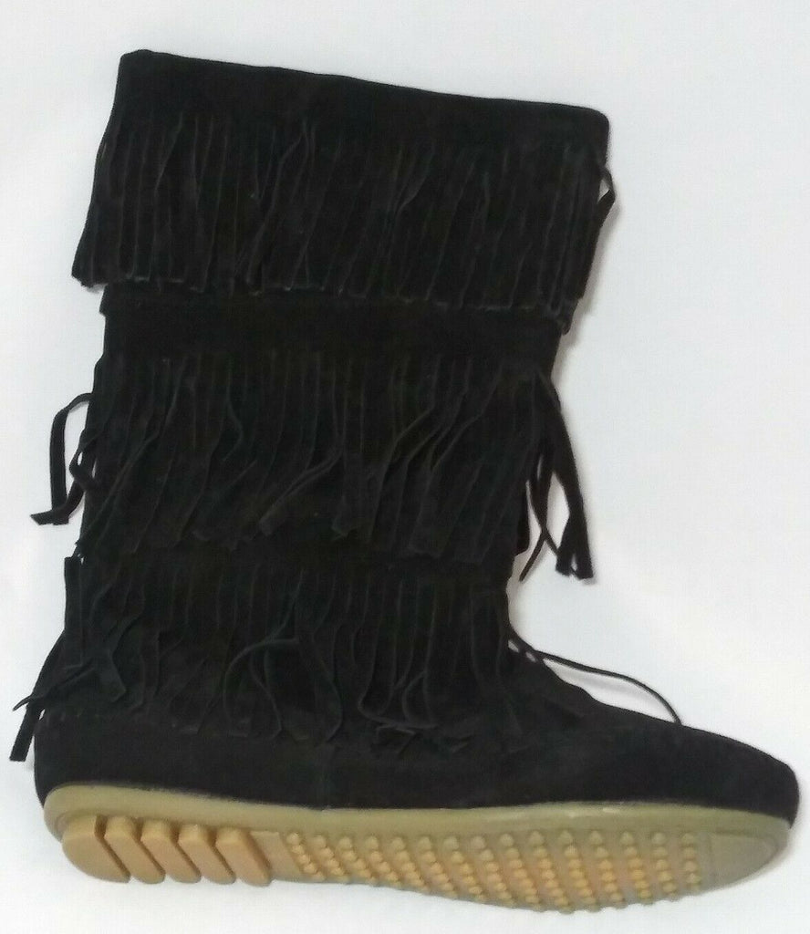 Shoes of Soul Women's Mid Calf Faux Suede Moccasin Flat 3 Layer Fringe Sz 8 BLK