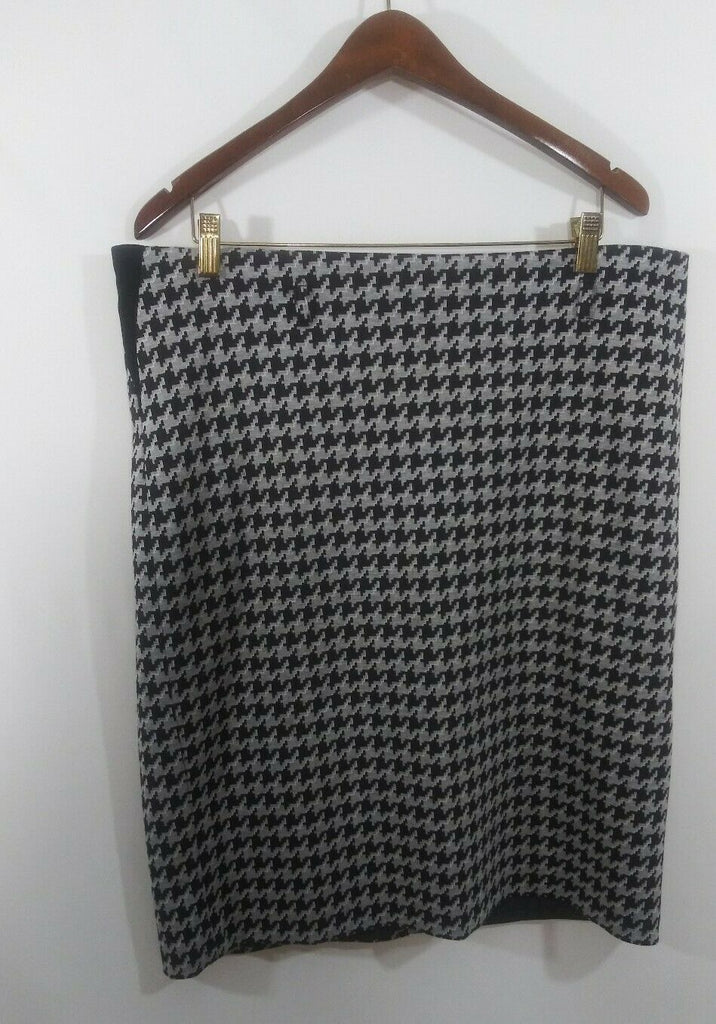 Charter Club Houndstooth Pencil Straight Skirt Size 14 Black White Gray