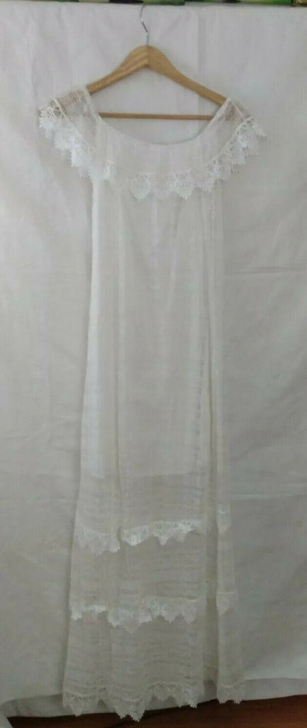 Off The Shoulder Lace Long Maxi Dress Summer Beach Women's White Size Large
