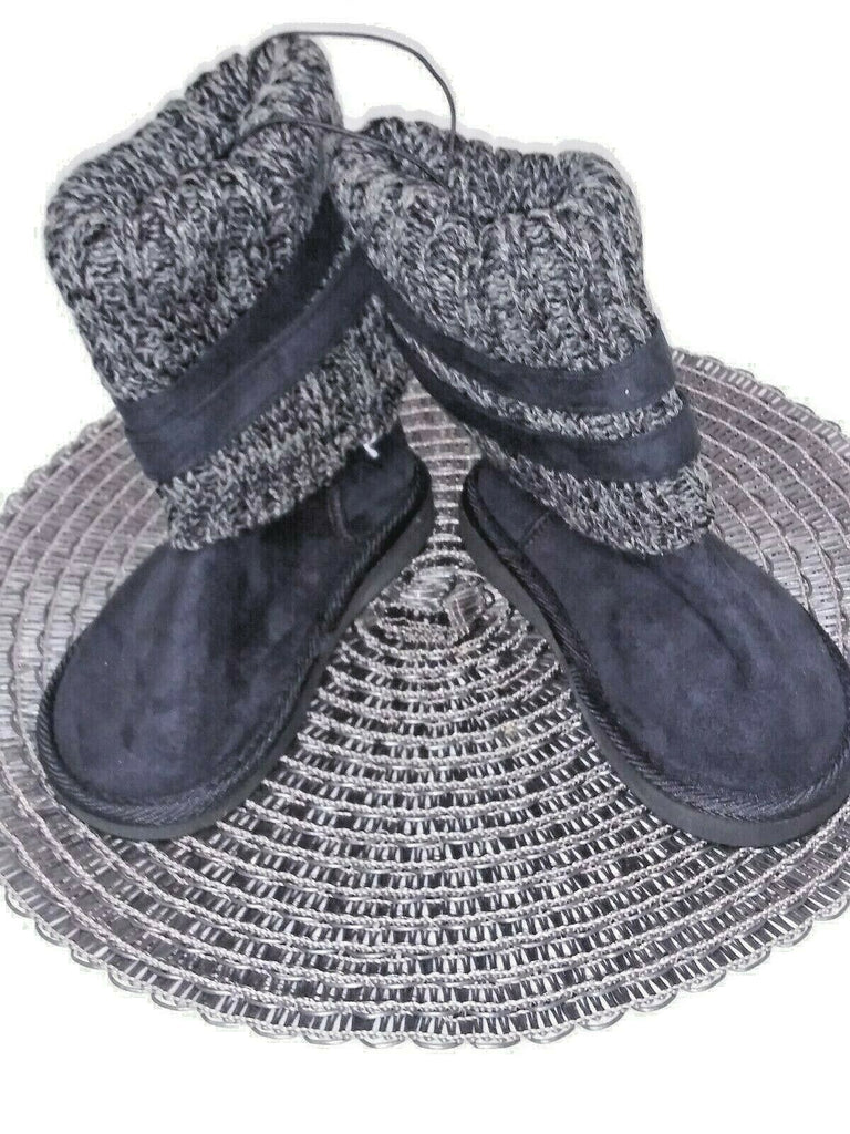 Shoes Of Soul Girls' Side Buckle Sweater Bootie Size 10 Black Gray - STEPSHEY