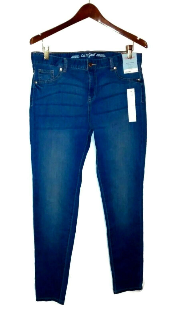 Cat & Jack Girls Super Skinny Adjustable Super Stretch Jeans Pants 16 Plus Blue